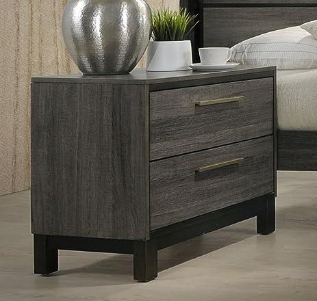Roundhill Furniture Ioana 187 Antique Grey Finish Wood 2-Drawer Nightstand - Amazon.com: Roundhill Furniture Ioana 187 Antique Grey Finish Wood