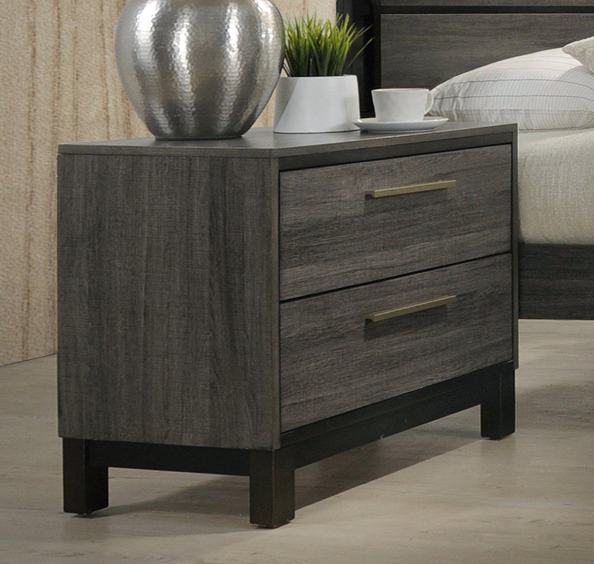 Roundhill Furniture B187N Loana Wood 2-Drawer Nightstand, Antique Grey
