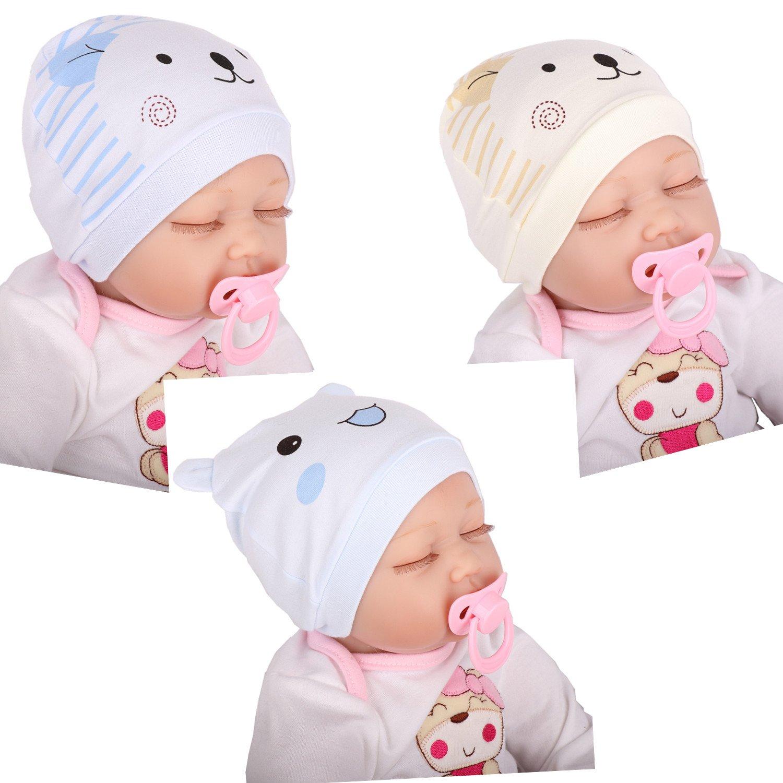 Tyidalin Lot de 3 Bonnet de Naissance Nouveau Né en Coton pour 0-6 Mois Bébé  Fille Garçon  Amazon.fr  Bébés   Puériculture 8480eca29bf