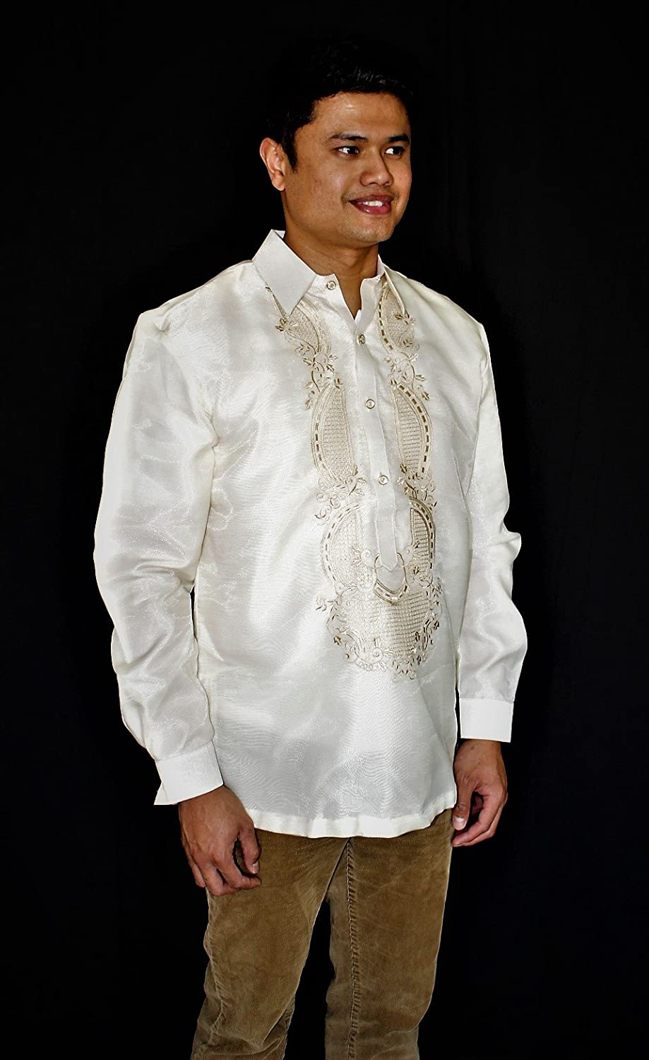 724fef6cedc Amazon.com  Barong Tagalog Philippine National Costume Formal Wear - Beige   Handmade