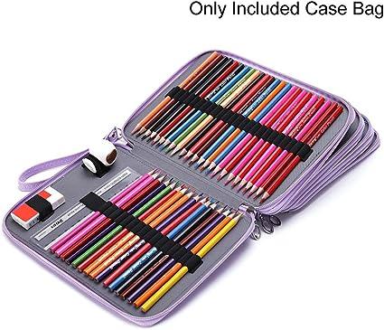 RENNICOCO 184 Ranuras Estuche de lápices de Colores PU Organizador de Cuero Capa de Bolsa de lápices de Gran Capacidad y Gran Capacidad: Amazon.es: Hogar