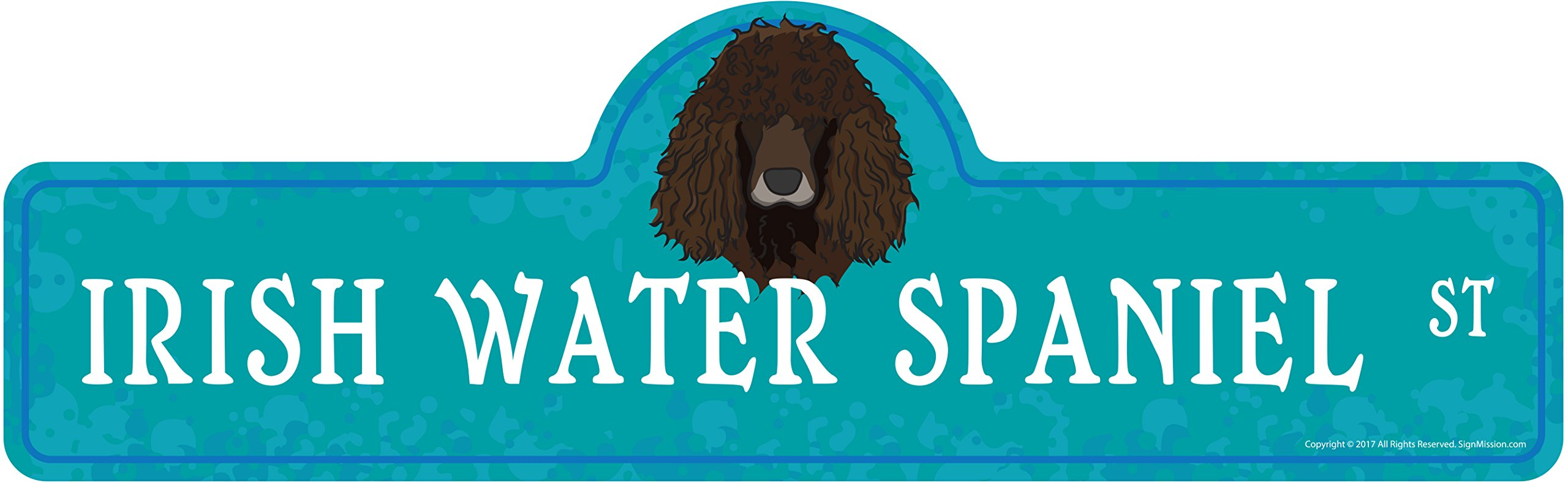 "Irish Water Spaniel Street Sign | Indoor/Outdoor | Dog Lover Funny Home Décor for Garages, Living Rooms, Bedroom, Offices | SignMission personalized gift | 36"" Wide Plastic Sign 1"