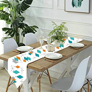 Mid Century Modern Table Runner 70 Inches Long Turquoise Orange Diamond Dresser Scarf for Wedding, Holiday Parties, Dining Room, Kitchen Accessories Decor