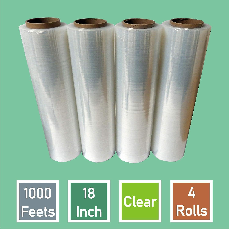 "Yens 4 Rolls Clear Stretch Film Plastic Pallet Wrap 18"" Wide, 80 Gauge. (1000FT)"