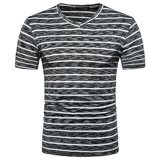 353752100 WM & MW Basic Tee Shirts,Boy Men's Short Sleeve Summer Casual V-Neck