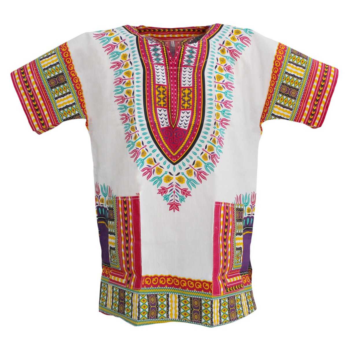 PAGADA BRAND African Dashiki Shirts Collection, Several Colors, 100% Cotton, M - XL Size. (L, White and Pink Mix)