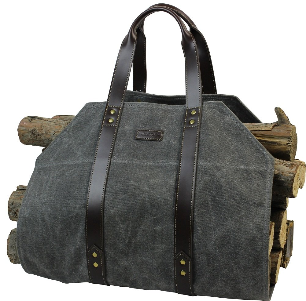 INNO STAGE Log Carrier|Waxed Canvas Log Holder|Firewood Carrier Tote Bag|Fireplace Wood Stove Accessories-Grey