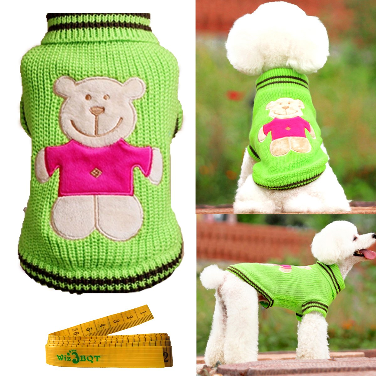 Cute Pet Sweater Knitted Turtleneck Knitwear Outwear for Dogs & Cats (Green, Large)