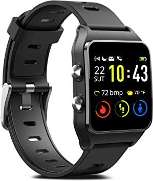 GPS Running Smart Watch, IP68 Waterproof Fitness Tracker with 17 Sport Mode, Touch Screen Heart Rate & Sleep Monitor with Pedometer Calorie Counter ...