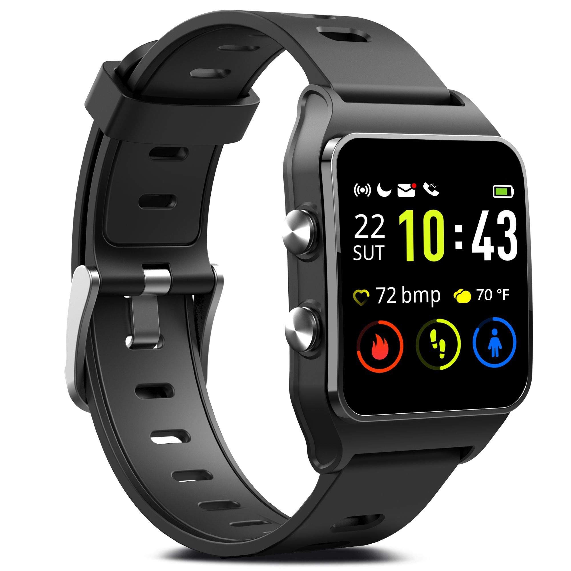 GPS Running Smart Watch, IP68 Waterproof Fitness Tracker with 17 Sport Mode, Touch Screen Heart Rate & Sleep Monitor with Pedometer Calorie Counter Activity Tracker for Men Women Android & iPhone by FITVII