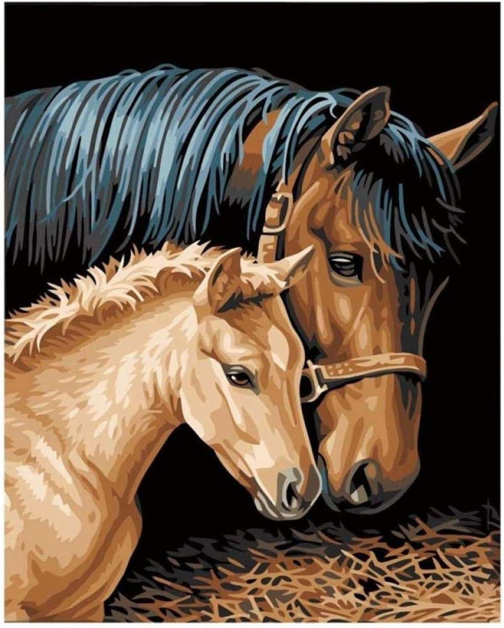 Juego de caballos de pintura al óleo digital DIY para niñas adultas niños regalo de adorno de decoración de Navidad blanca 40X50 cm