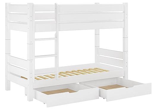 Etagenbett Weiß : Erst holz® massivholz etagenbett weiß 90x200 nische 80cm teilbar