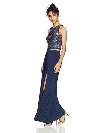 e1190ac7105 JUMP Junior's Two Piece Glitter Sleeveless Top Long Jersey Skirt, Steel, ...