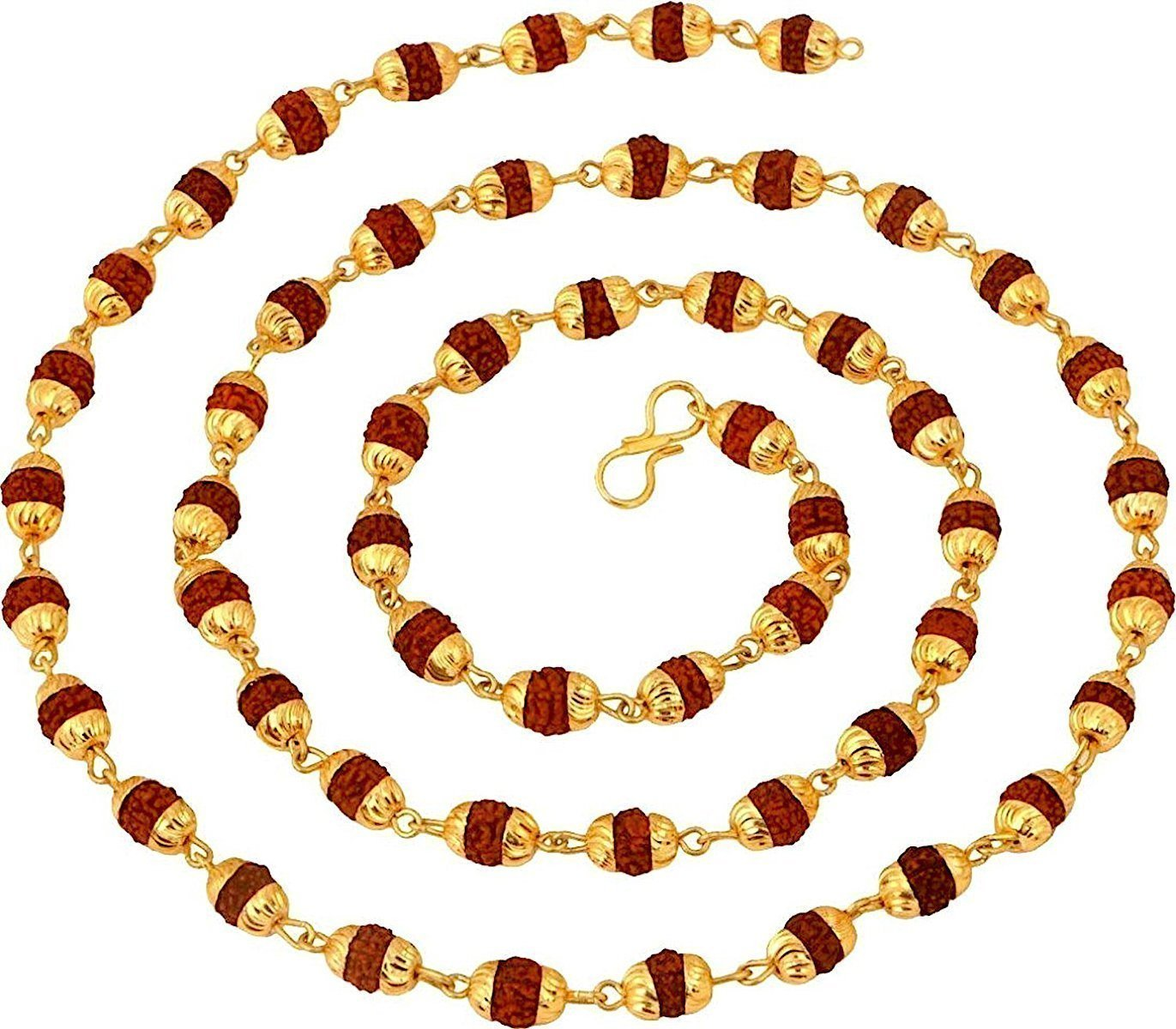 Rudraksh mala beads sacred Rudraksha beads 5 Mukhi Japa Mala Rosary Golden Cap Meditation mala Yoga necklace - Rudraksha sacred necklace Mala beads - Rosary pouch - Nepal Rudraksha beads - US seller