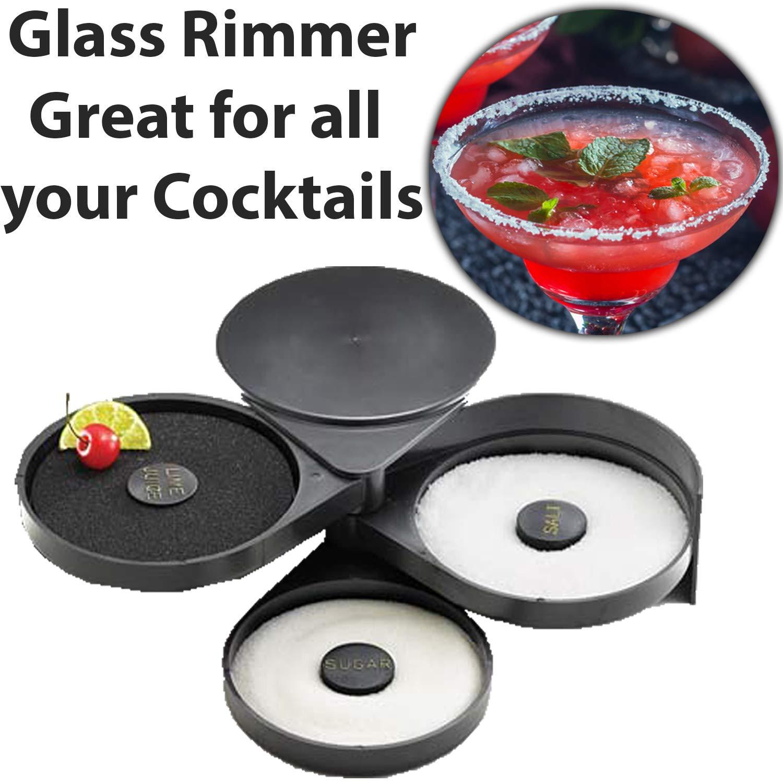 Bar Supplies Set - 3 Tier Glass Rimmer + 6 Alcohol Pour Bottles + 6 Liquor Bottle Pourers W/Tapered Spout by HeroFiber (Image #2)