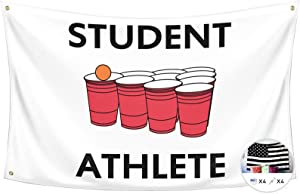 Probsin Student Athlete Flag Beer Pong 3x5 Feet Banner,Funny Poster UV Resistance Fading & Durable Man Cave Wall Flag with Brass Grommets for College Dorm Room Decor,Outdoor,Parties,Gift,Tailgates