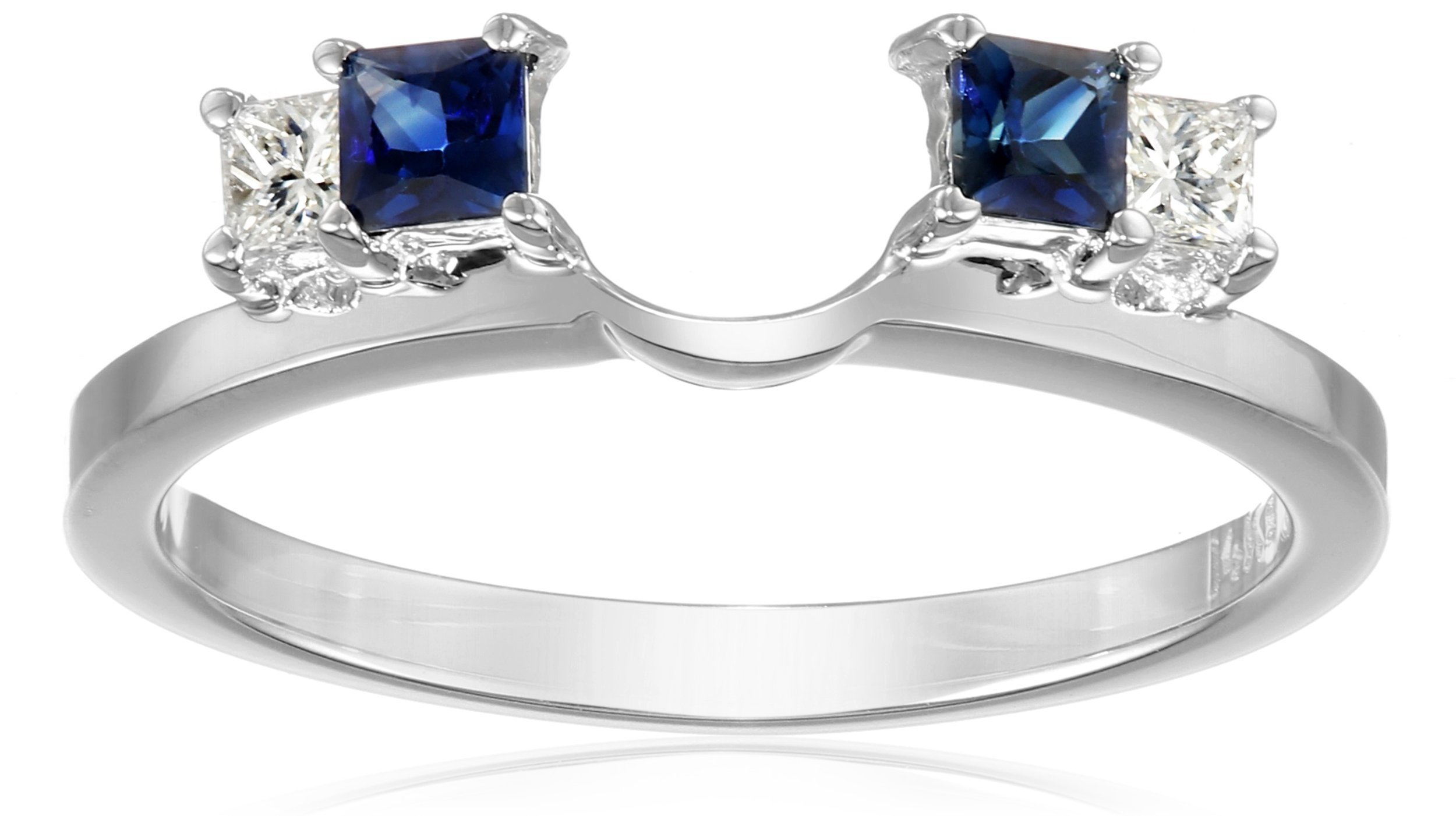 14k White Gold 1/6carat Princess Diamond and Blue Sapphire Solitaire Enhancer Wedding Band (Fits 1/2carat-1carat Round/Princess Solitaire), Size 7