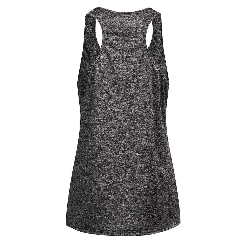iLUGU Women Sleeveless Yoga Cami Vest Top Activewear Running Safety Workout Shirt Tunic Racer Back Tank Dark Green by iLUGU (Image #2)