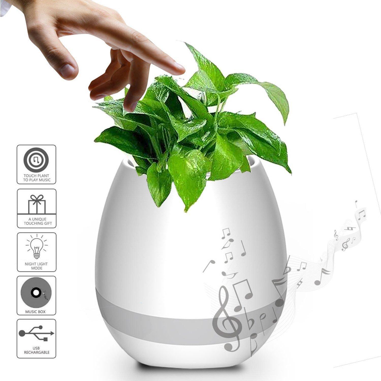 Miavogo Música Flower-Pot LED Colorido Luz Nocturna Smart Touch Music Flower-Pot Piano Smart Altavoz Bluetooth Inalámbrico Luz Nocturna Planta-pot Sensor ...
