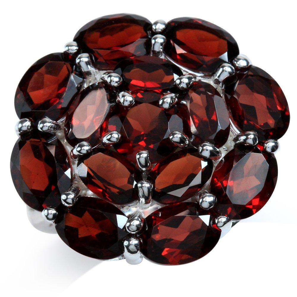 Silvershake 11.65ct Natural January Birthstone Garnet 925 Sterling Silver Flower Cluster Ring