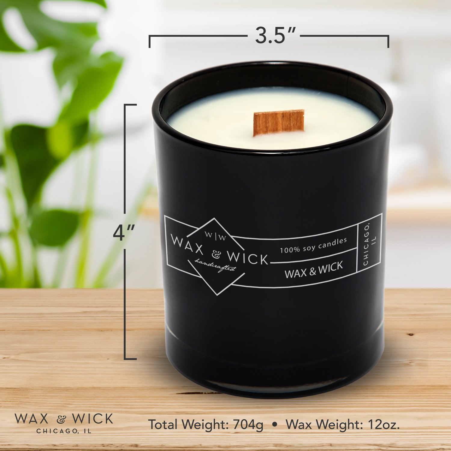 Scented Soy Candle: 100% Pure Soy Wax with Wood Double Wick | Burns Cleanly up to 60 Hrs | Mulled Cider Scent - Notes of Apple, Nutmeg, Vanilla, Caramel. | 12 oz Black Jar by Wax and Wick by Wax & Wick (Image #7)