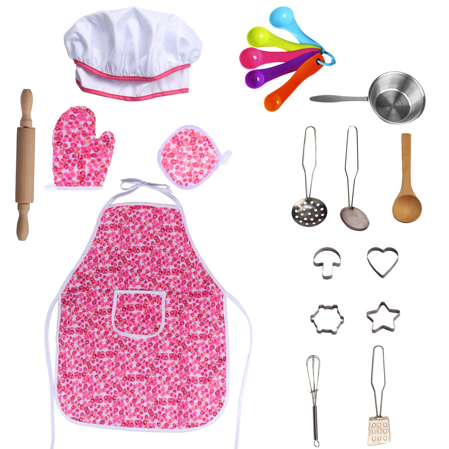 SOTOGO 20 Pieces Kids Chef Set Children Cooking Play Kids Cook Costume with Utensils for Boys /& Girls Green Stripe