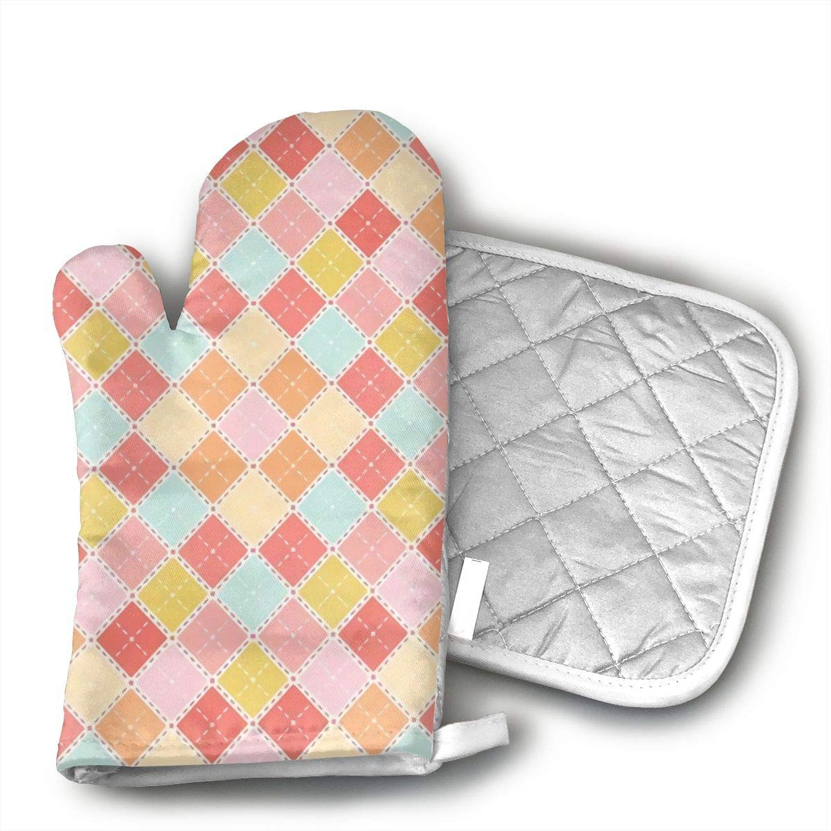 not Oven Mitts and Potholders Coral Plaid Non-Slip Grip Heat Resistant Oven Gloves BBQ Cooking Baking Grilling
