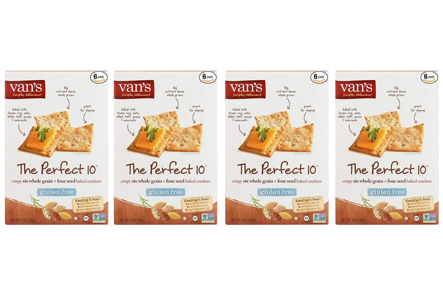Vans Natural Foods The Perfect 10 Gluten Free Crackers, 4 Ounce - 6 Count per Pack (4 Pack)