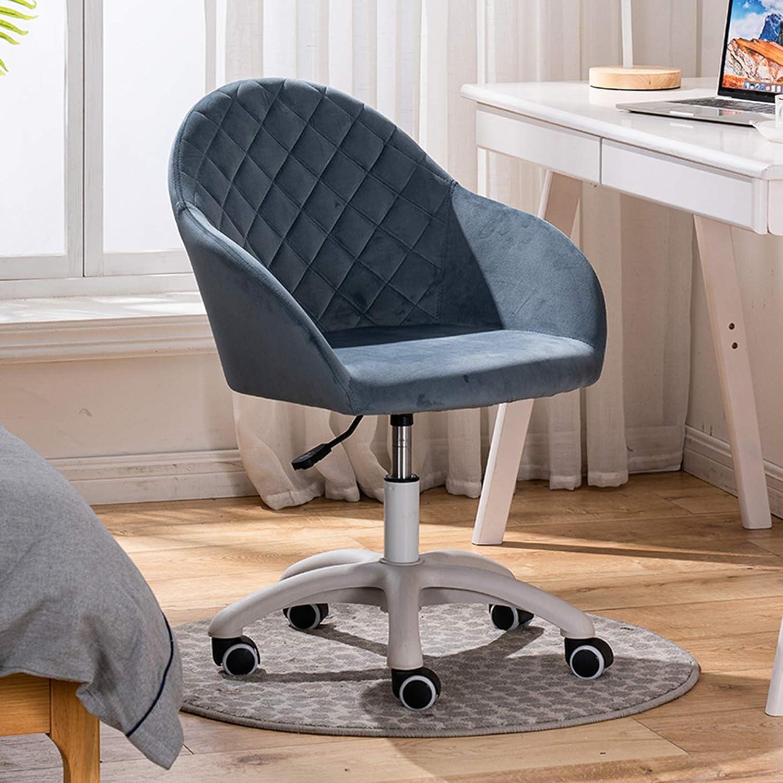 Sammet accentstol, vardagsrum 360 graders svängbar datorstol hem kontor skrivbord stol toalettstol med 5 hjul för sovrum BLÅ
