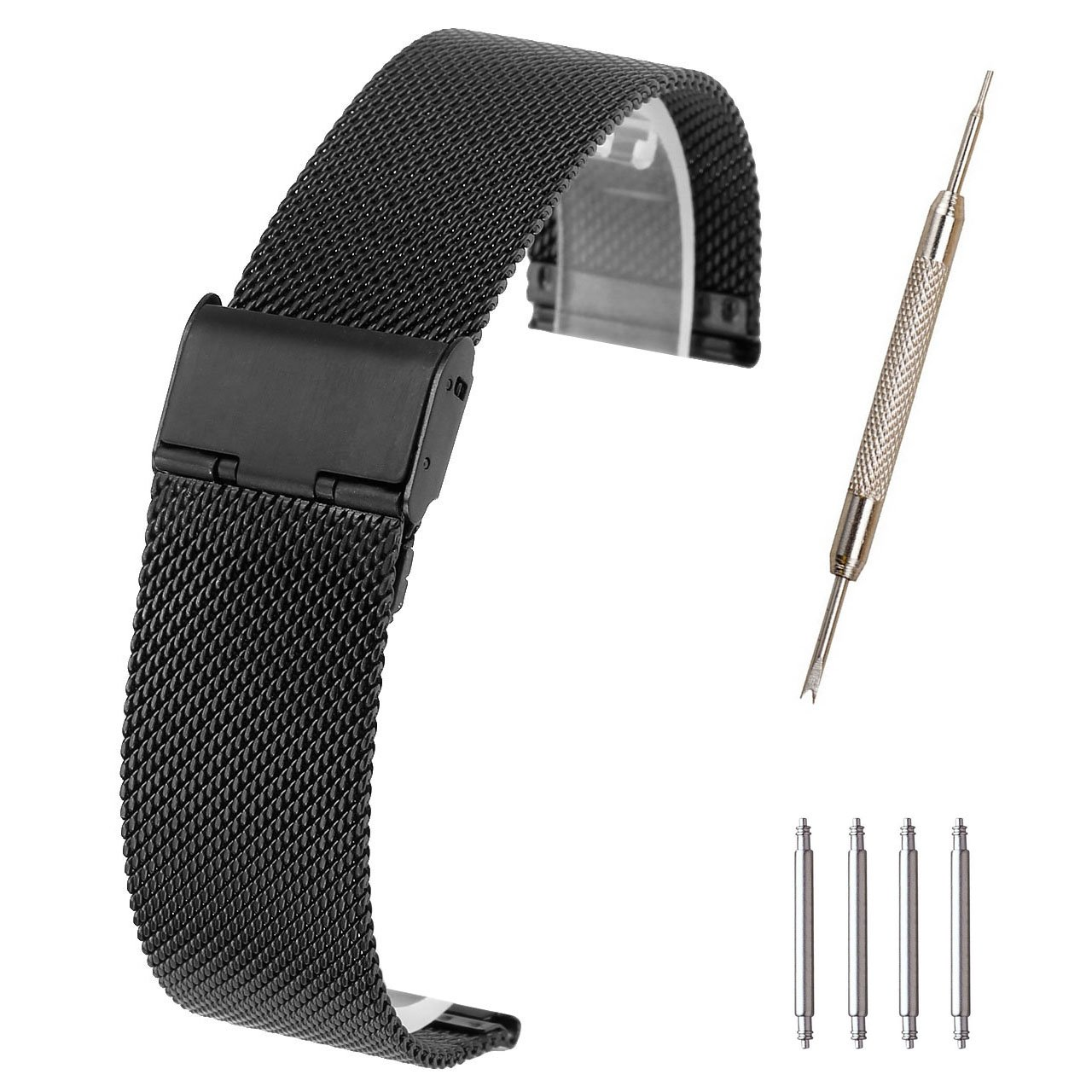 Top Plaza 20mm Stainless Steel Bracelet Wrist Watch Band Replacement Braided Mesh Metal Strap Interlock Safety Clasp(Black)