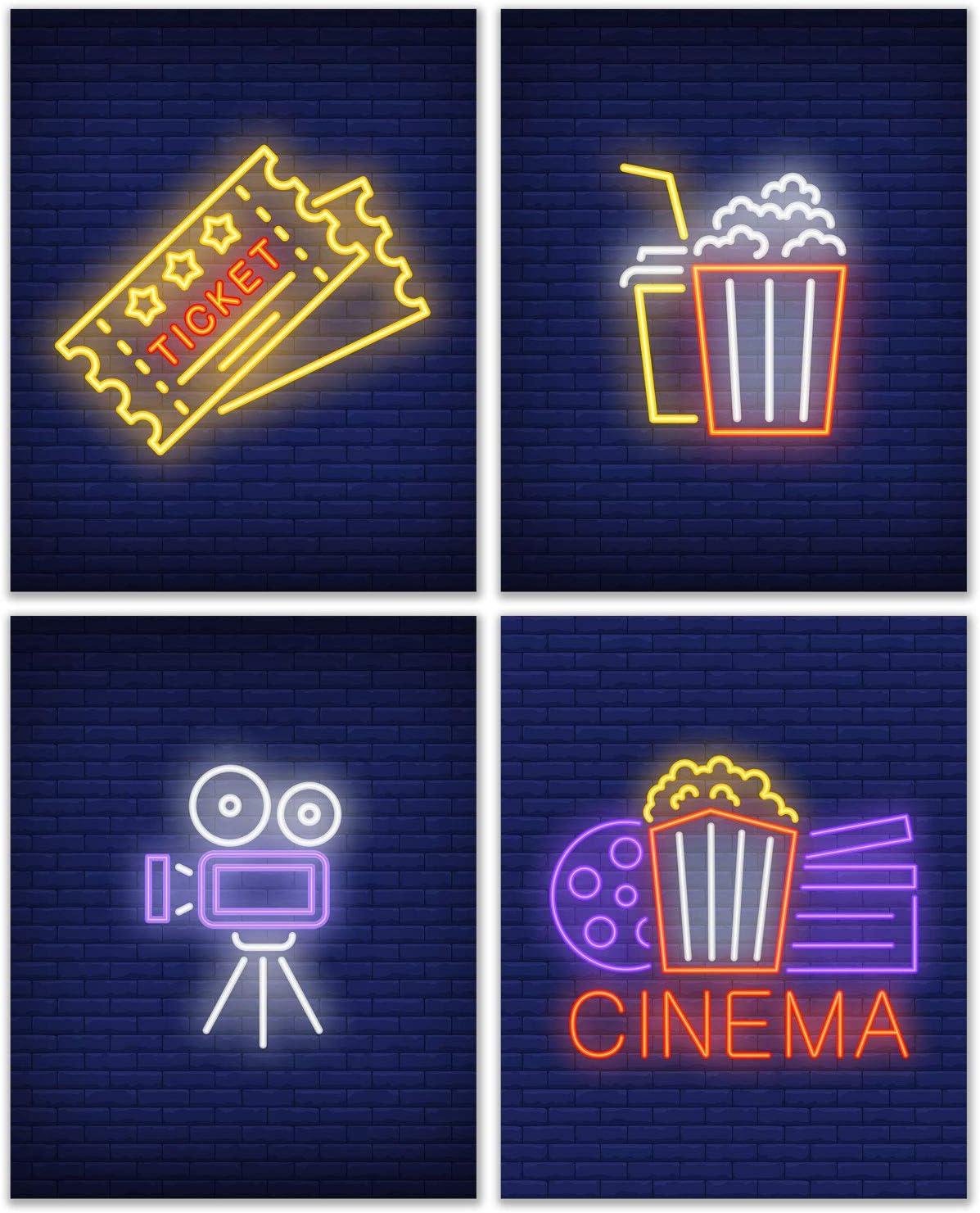 Cinema Home Theatre Wall Art Decor Prints - Set of 4 (8x10) Inch Poster Photos - Basement Entertainment - Gift Idea