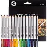 Morcoo 24 Matite Colorate Acquerellabili per disegnare Libri da colorare con Pennello in Scatola di carta- Set di Matite Acquerellabili - 24 Matite Colorate Solubili, Uniche e Diverse matite colorate -Un regalo perfetto per i bambini e Adulti