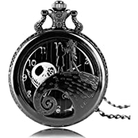 Aolvo Reloj de bolsillo grabado para hombres y mujeres, la pesadilla antes de la Navidad, reloj con diseño de gato…