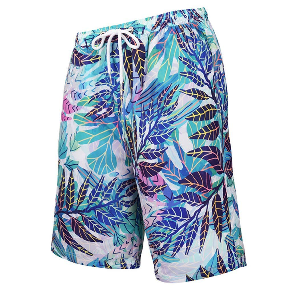 Benficial Men's Casual Print Shorts Beach Loose Pants Quickly Dry Sport Fitness Trousers 2019 Summer Blue by Benficial