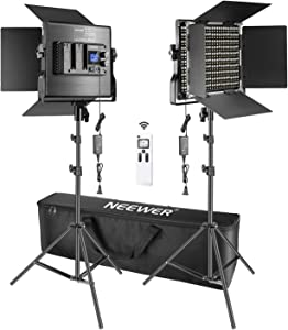 Neewer 2 Packs Advanced 2.4G 660 LED Video Light Photography Lighting Kit with Bag, Dimmable Bi-Color LED Panel with 2.4G Wireless Remote, LCD Screen and Light Stand for Portrait Product Photography