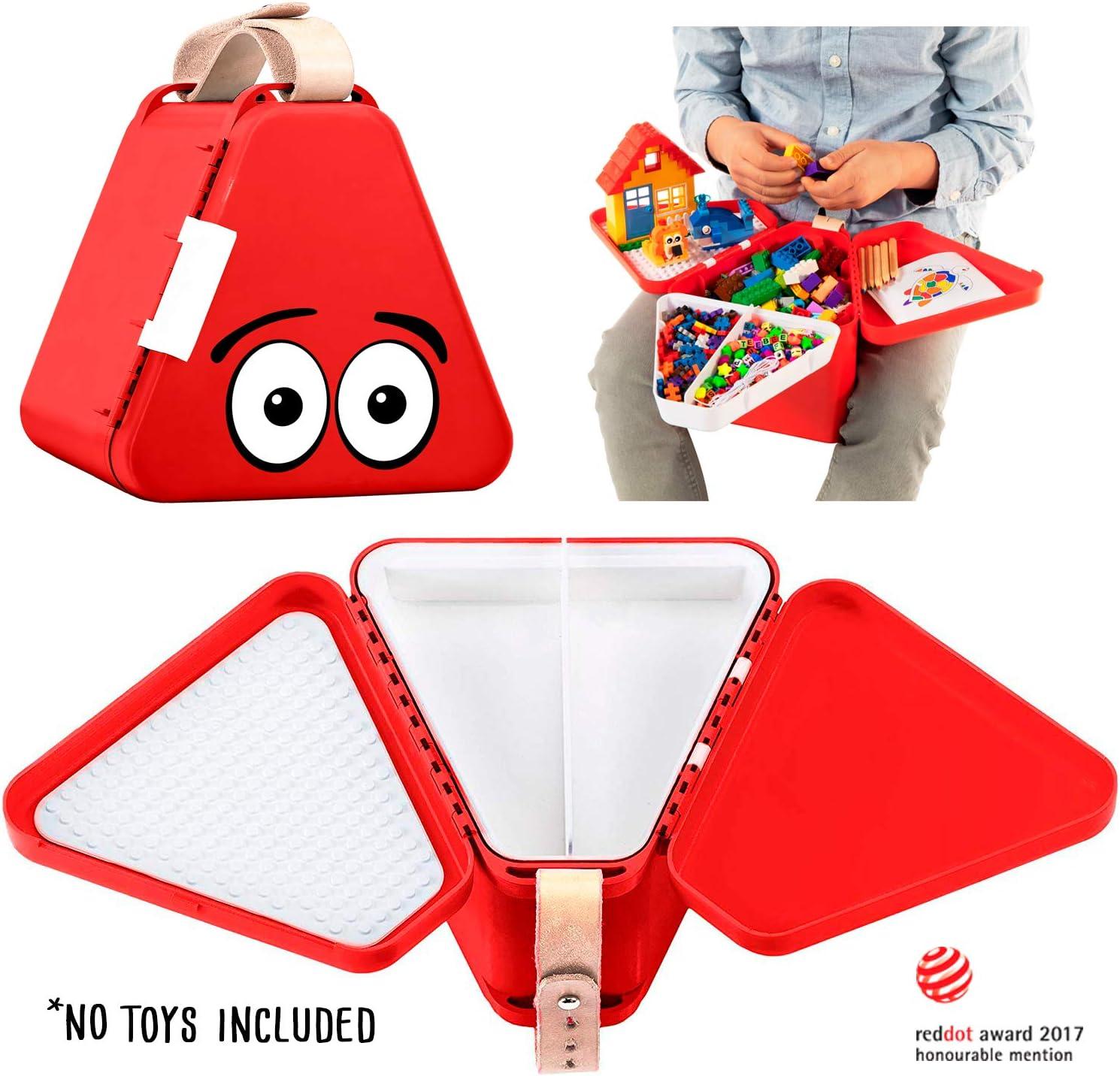 teebee - Caja de Juguetes de Viaje para niños, Bandeja de Actividades y Maleta para Coche y avión, Juego Creativo en el Asiento para niños y niñas (Rojo)