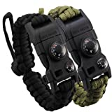 RIGOGLIOSO Survival Bracelet,Paracord Bracelet, Featured Outdoor Paracord Survival Bracelet, Whistle,Compass, Temp, & Fire Starter Functional Tool for Hiking Camping Hunting.