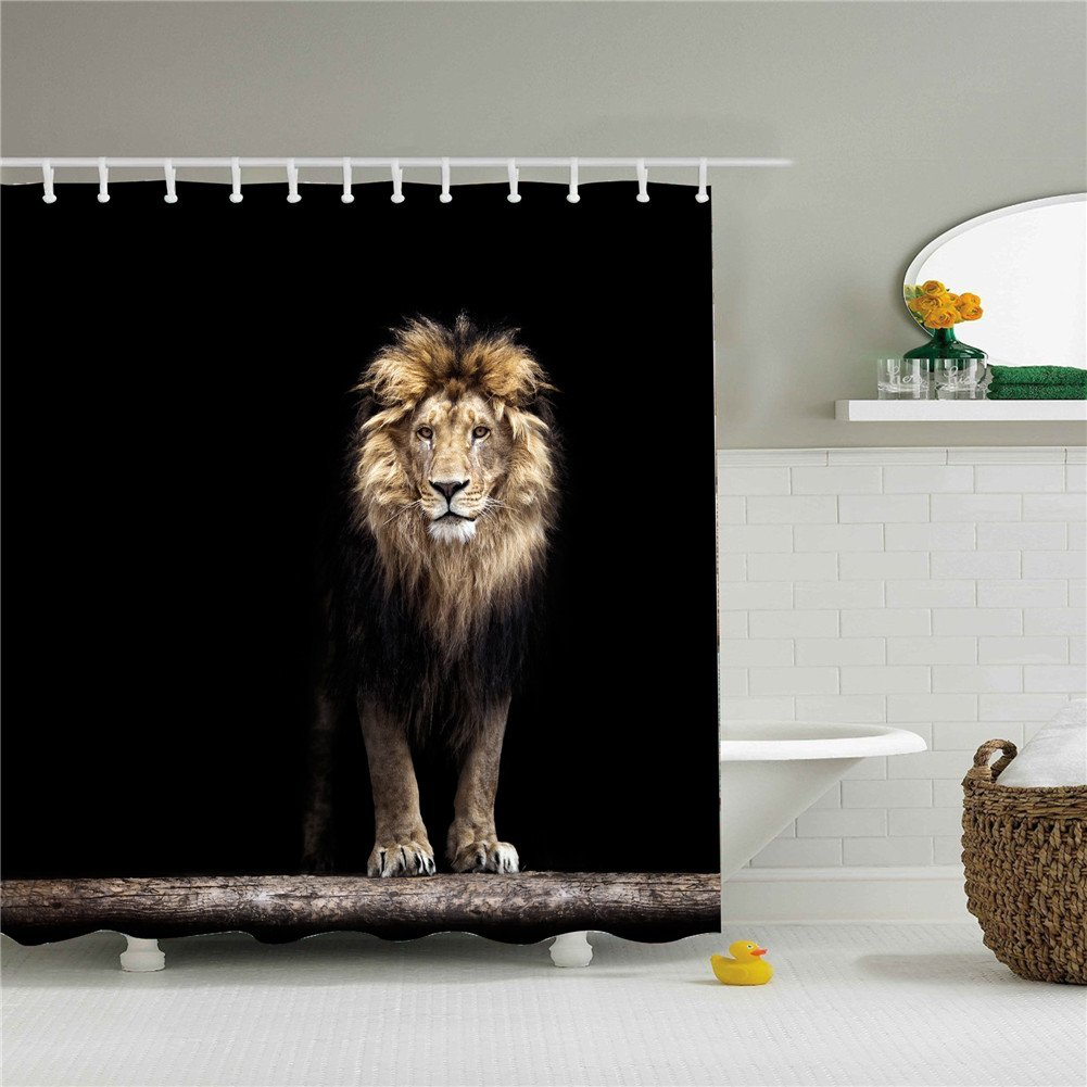 Shower Curtain Animal Lion Print Set Mildew Resistant Waterproof/Water-Repellent and Antibacterial 66x72 Inch