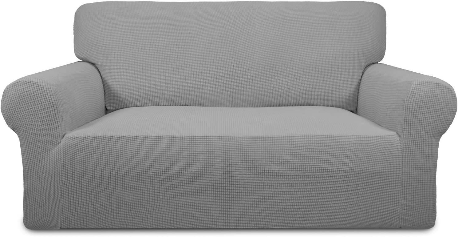 Easy-Going Stretch Sofa Slipcover 1-Piece Sofa Cover Furniture Protector Couch Soft with Elastic Bottom Anti-Slip Foam Kids, Spandex Jacquard Fabric Small Checks(loveseat,Light Gray)