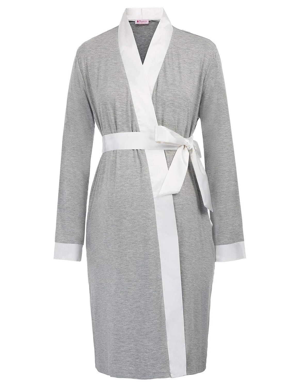 Women Maternity Long Sleeve Nursing Breastfeeding Robe Nightgown Kimono Lounge Bathrobe MC001056
