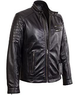 f3d03e25f1943 Mens Black Quilted Racer Lambskin Real Leather Jacket with Double Snap  Collar