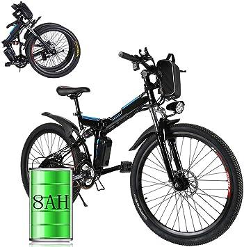 Bunao Bicicleta eléctrica de montaña, 250W, Batería 36V E-Bike Sistema de Transmisión de 21 Velocidades con Linterna con Batería de Litio Desmontable (A_Negro, 26 Pulgadas): Amazon.es: Deportes y aire libre
