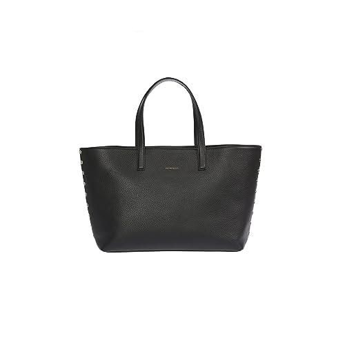 Trussardi Frauen-Handtasche aus echtem Leder mit Nieten Dollar, 100% Calf - 36x26x14 cm