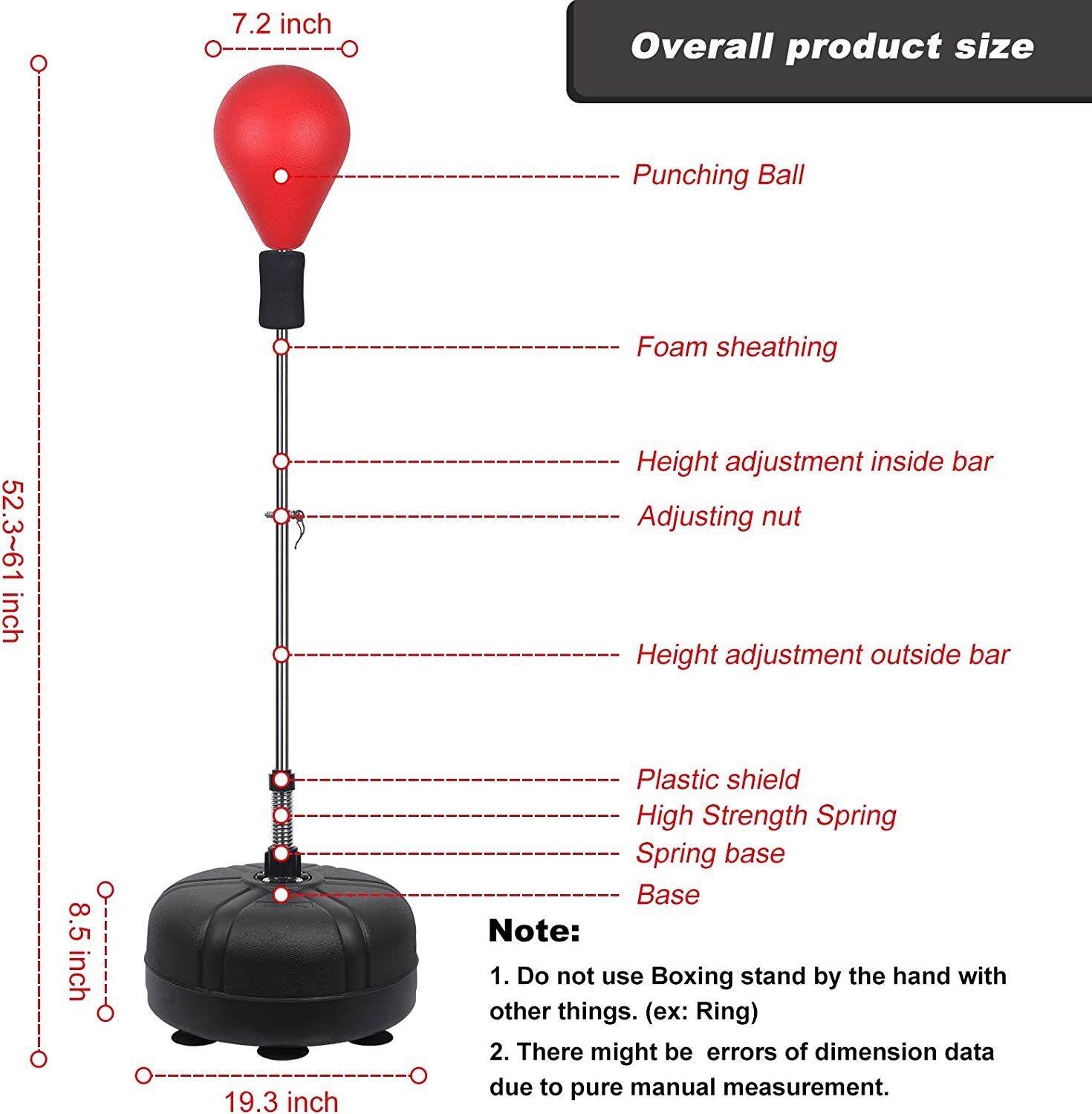 Sports & Outdoors 53In-62In Adjustable Height Boxing Bag Adult ...