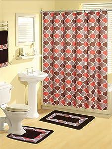 Home Dynamix Boutique Deluxe: Shower Curtain and Bath Rug Set: BOU22 Trellis Multi