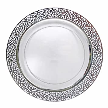 Decor Elegant Disposable Premium Heavy Weight 10.25\u0026quot; Dinner Plates Inspiration Silver \u0026 Clear  sc 1 st  Amazon.com & Amazon.com: Decor Elegant Disposable Premium Heavy Weight 10.25 ...