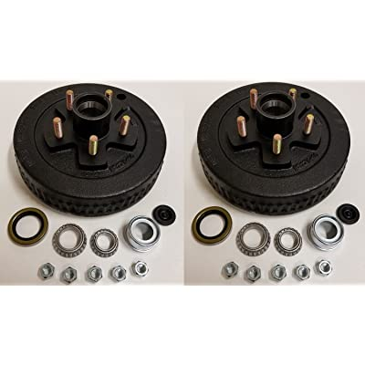 2-Pk 10 in. x 2 Trailer Brake Hub Drum Kit w/Bearings Seal Cap Lugs (5 on 4.5): Industrial & Scientific