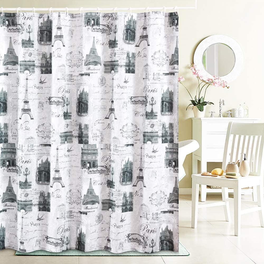YOSTEV Romantic Grey Paris Eiffel Tower Bathroom Fabric Shower Curtain with Hooks,Decorative Bathroom Accessories,Water Proof,Reinforced Metal Grommets 72x72 inches