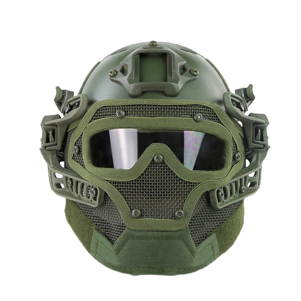 HYOUT Fast Tactical Helmet Combined with Full Mask and Goggles for Airsoft Paintball CS (OD) by HYOUT