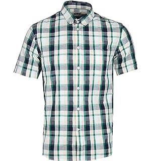 985bd8c1a22 Edwin Navy Garment Dyed Short Sleeve Button-Down Shirt